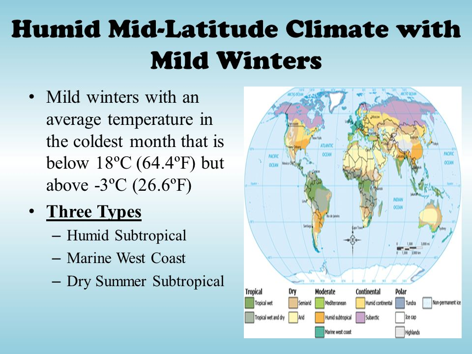 Humid Mid-Latitude Climate with Mild Winters