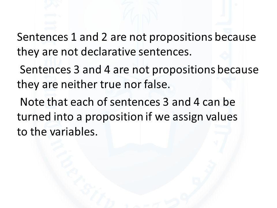 Sentences 1 and 2 are not propositions because they are not declarative sentences.