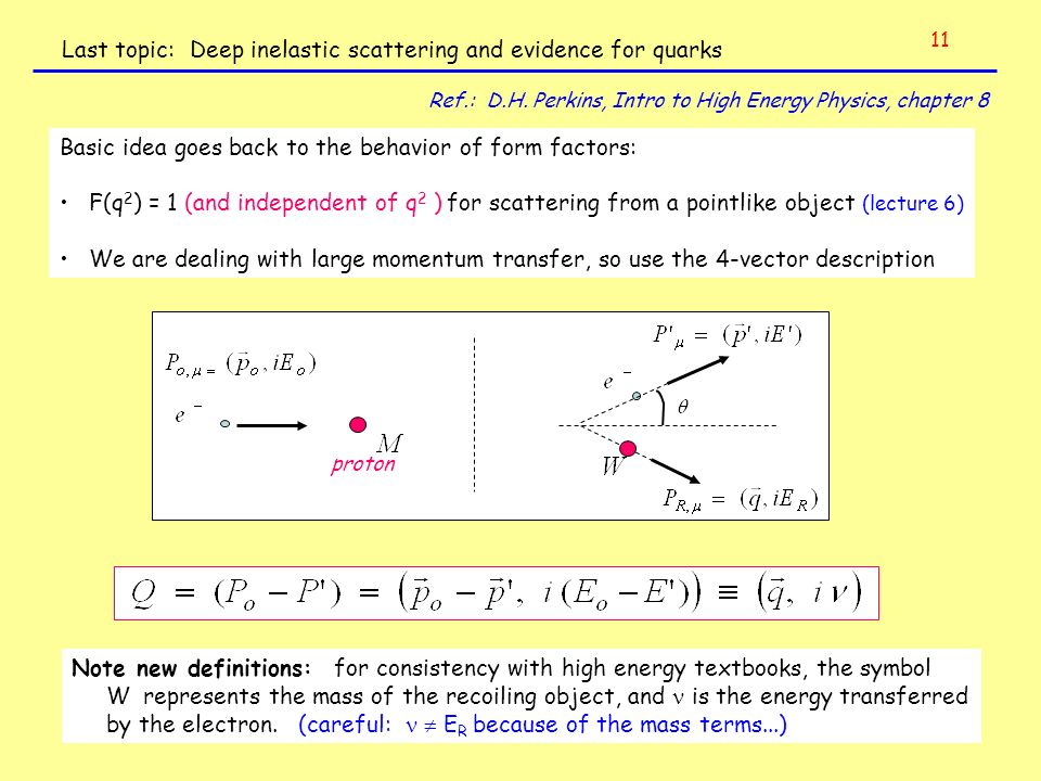 Last topic: Deep inelastic scattering and evidence for quarks