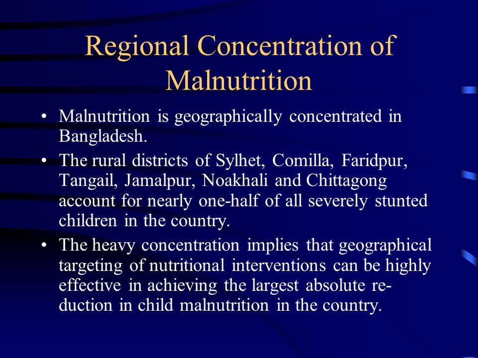 Regional Concentration of Malnutrition