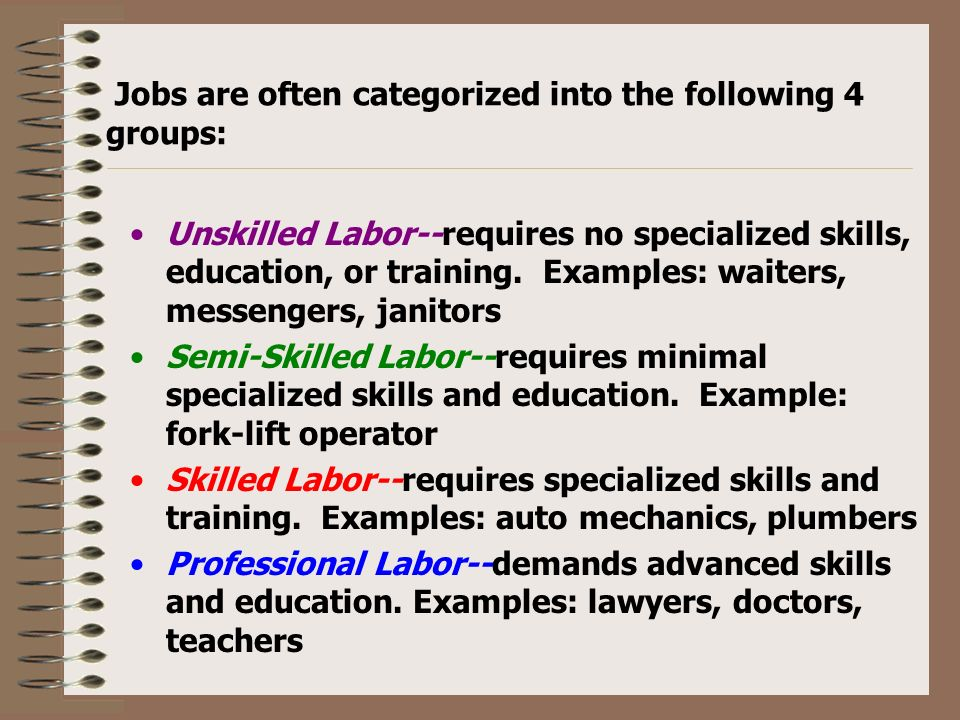 examples of unskilled labour jobs