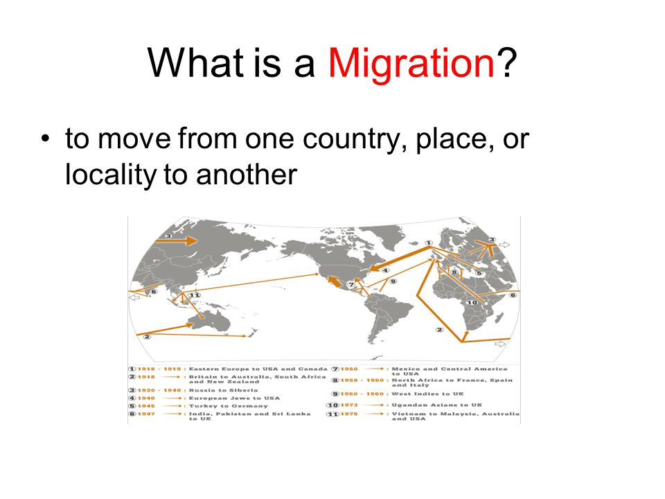 What is a Migration to move from one country, place, or locality to another