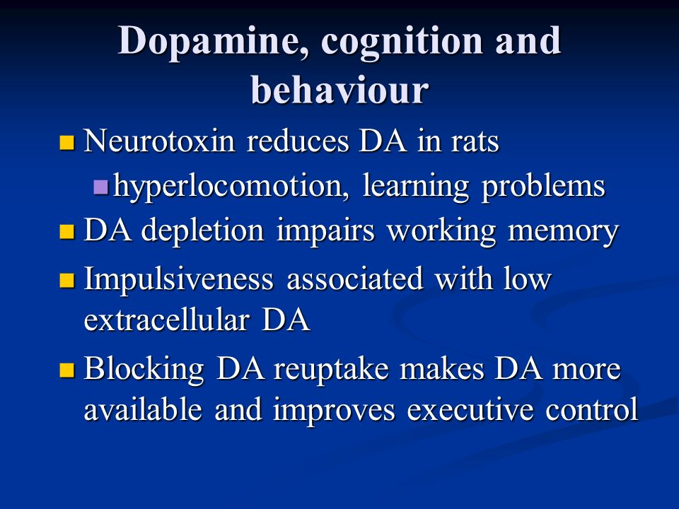 Dopamine, cognition and behaviour