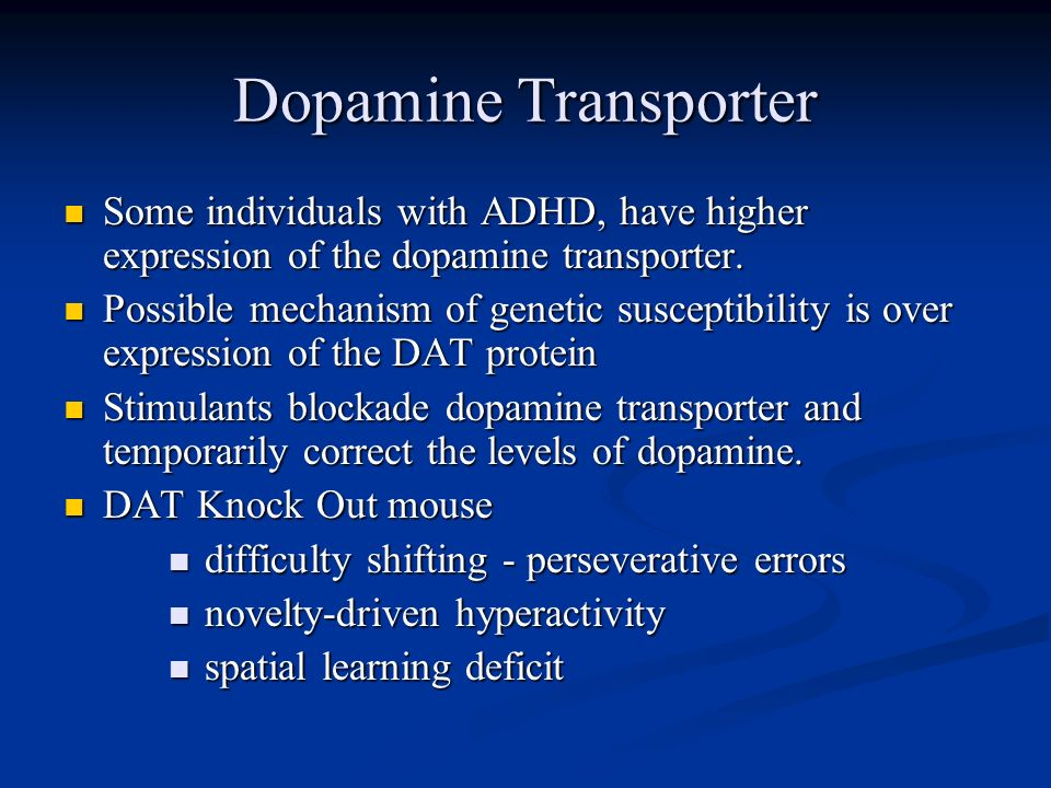 Dopamine Transporter Some individuals with ADHD, have higher expression of the dopamine transporter.