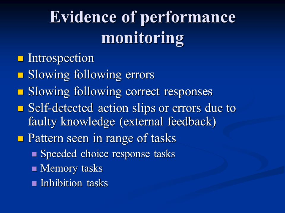 Evidence of performance monitoring