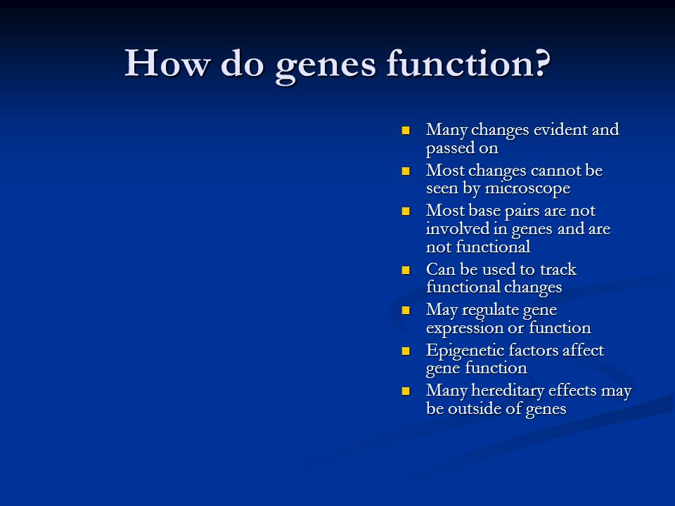 How do genes function Many changes evident and passed on