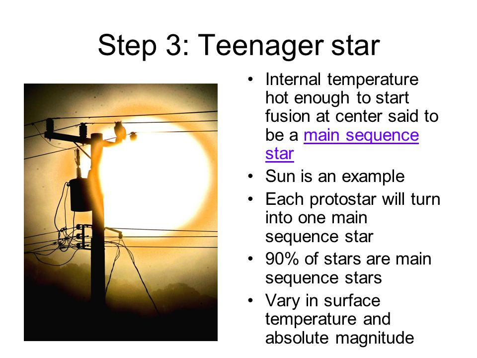 Step 3: Teenager star Internal temperature hot enough to start fusion at center said to be a main sequence star.