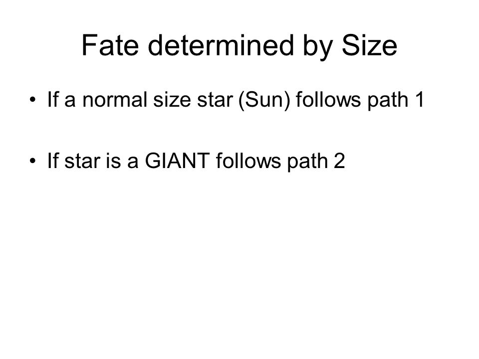 Fate determined by Size