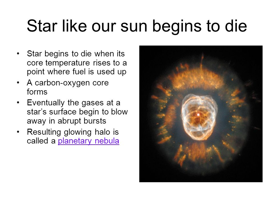 Star like our sun begins to die