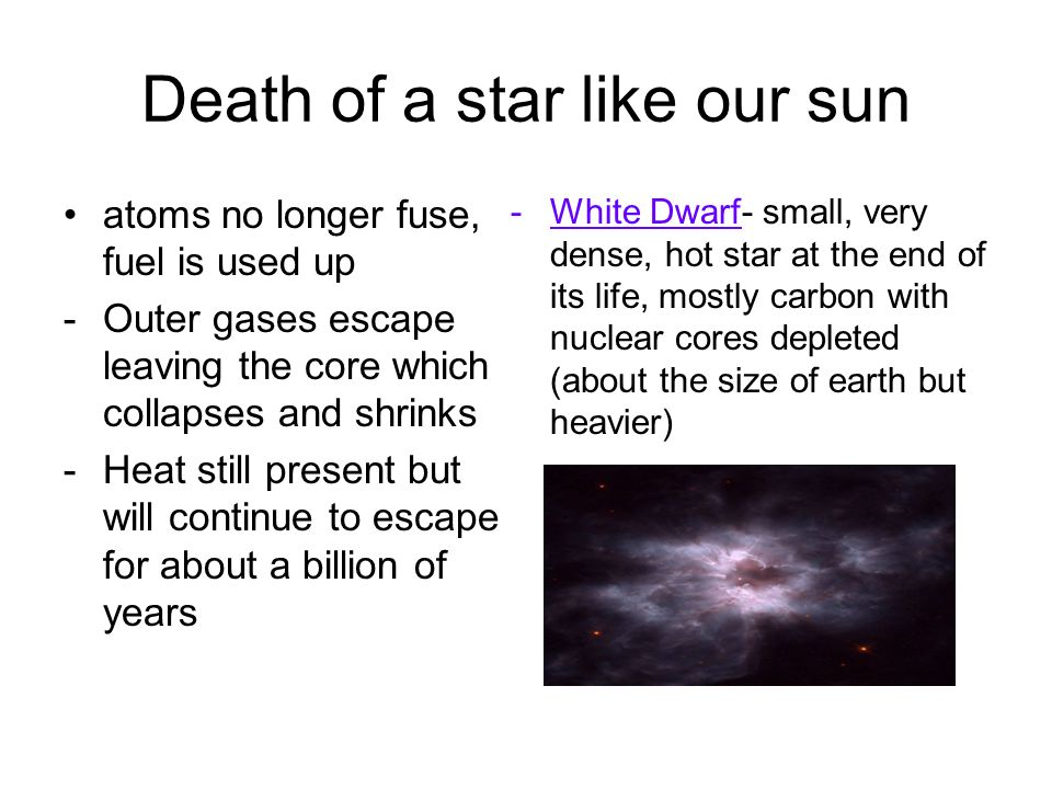 Death of a star like our sun