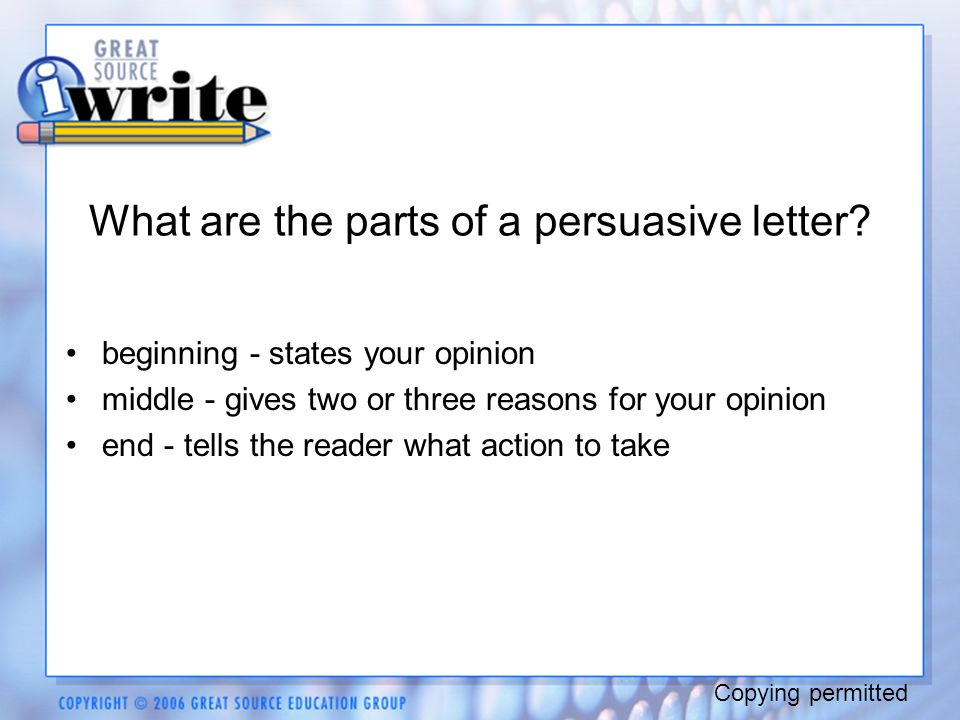 how to write a persuasive letter powerpoint persuasive writing one person s opinion copying permitted 18770