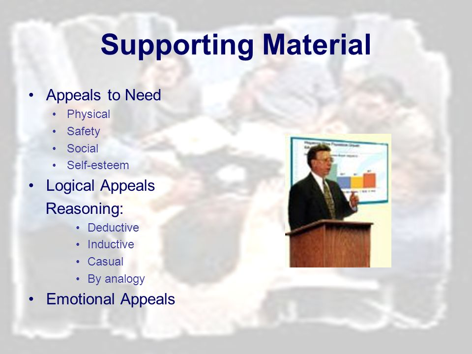 Supporting Material Appeals to Need Logical Appeals Reasoning: