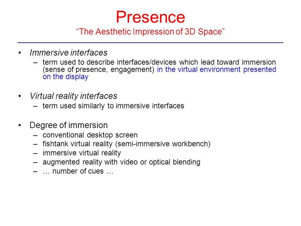 Space Perception and Display of Data in Space Immersive ...