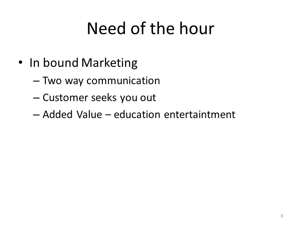 Need of the hour In bound Marketing Two way communication