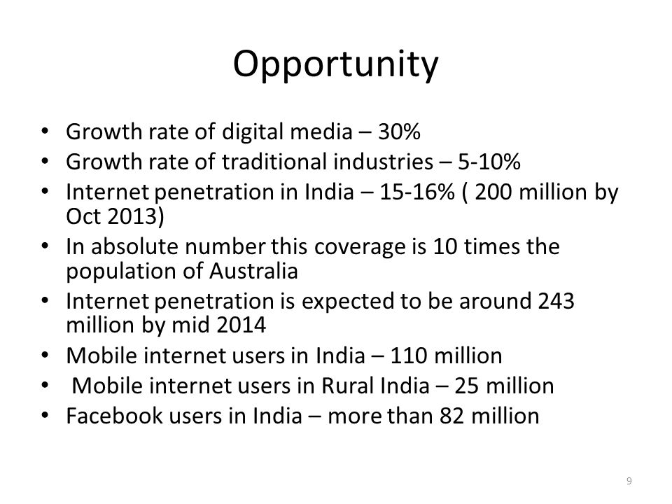 Opportunity Growth rate of digital media – 30%