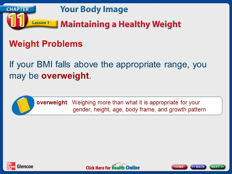 Chapter 11 Your Body Image Lesson 1 Maintaining a Healthy Weight ...