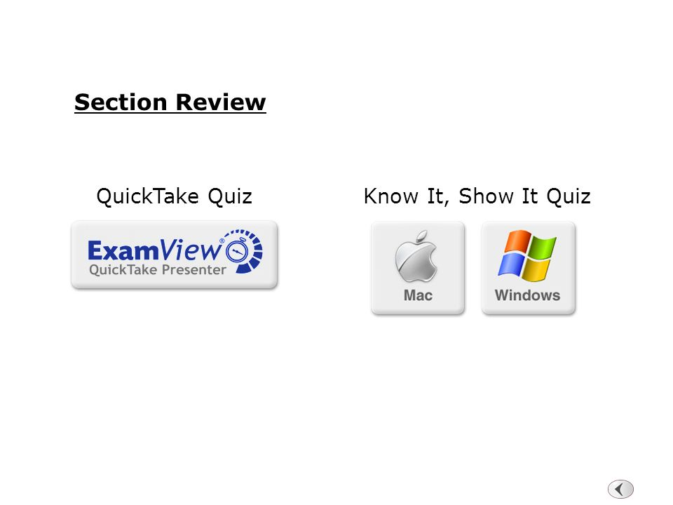 Section Review QuickTake Quiz Know It, Show It Quiz 64