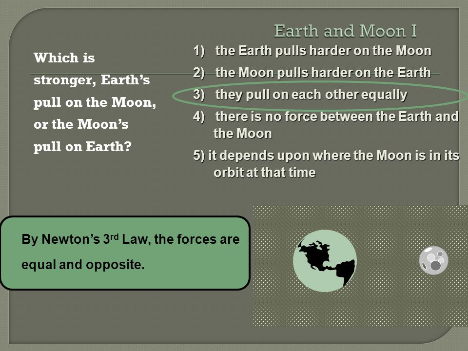 Earth And Moon I 1 The Earth Pulls Harder On The Moon Ppt Video