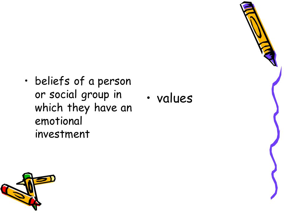 beliefs of a person or social group in which they have an emotional investment