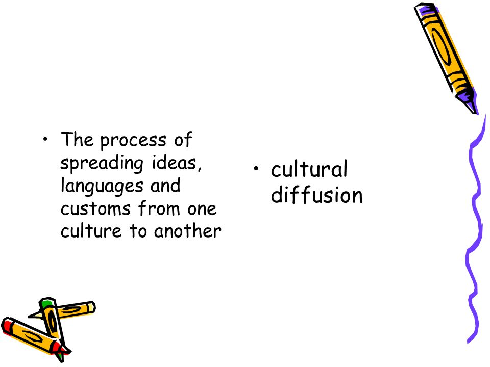 The process of spreading ideas, languages and customs from one culture to another