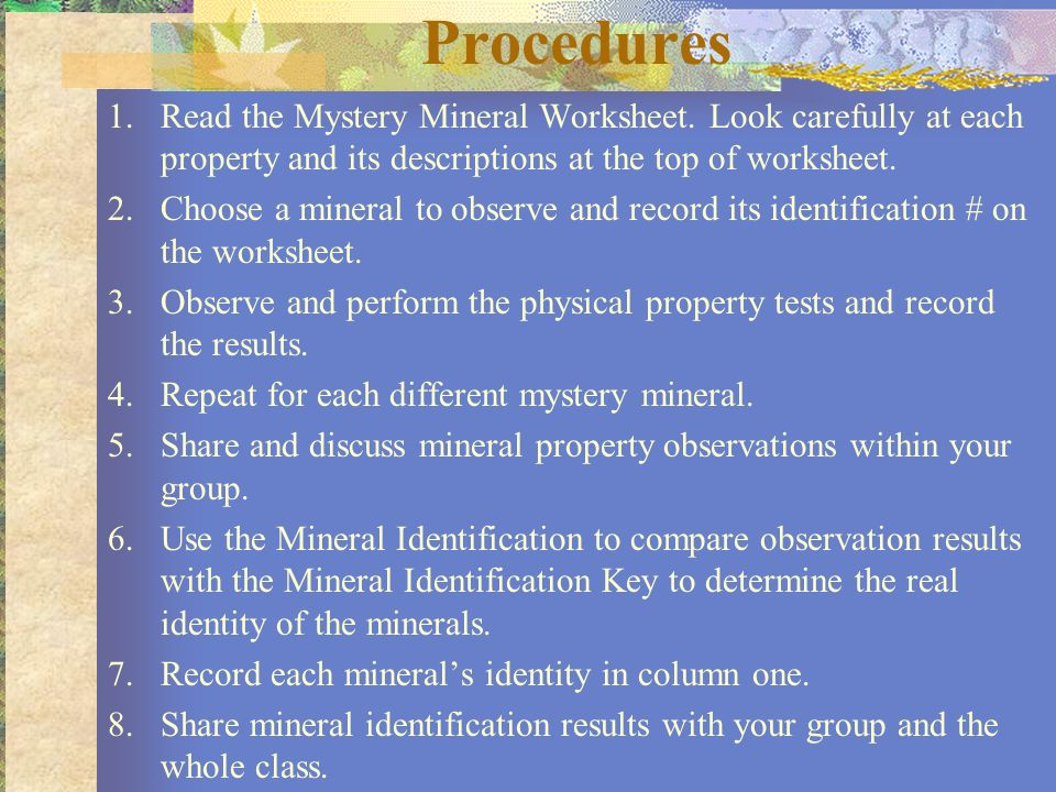 Procedures Read The Mystery Mineral Worksheet Look Carefully At Each Property And Its Descriptions: Mineral Properties Worksheet At Alzheimers-prions.com