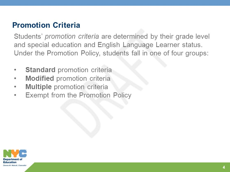 Overview NYC DOE Promotion Policy, Grades Pre-K–8 - ppt download