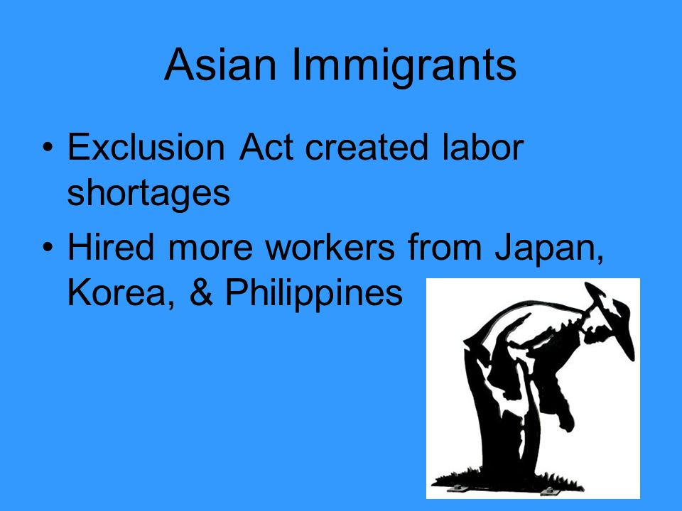Asian Immigrants Exclusion Act created labor shortages