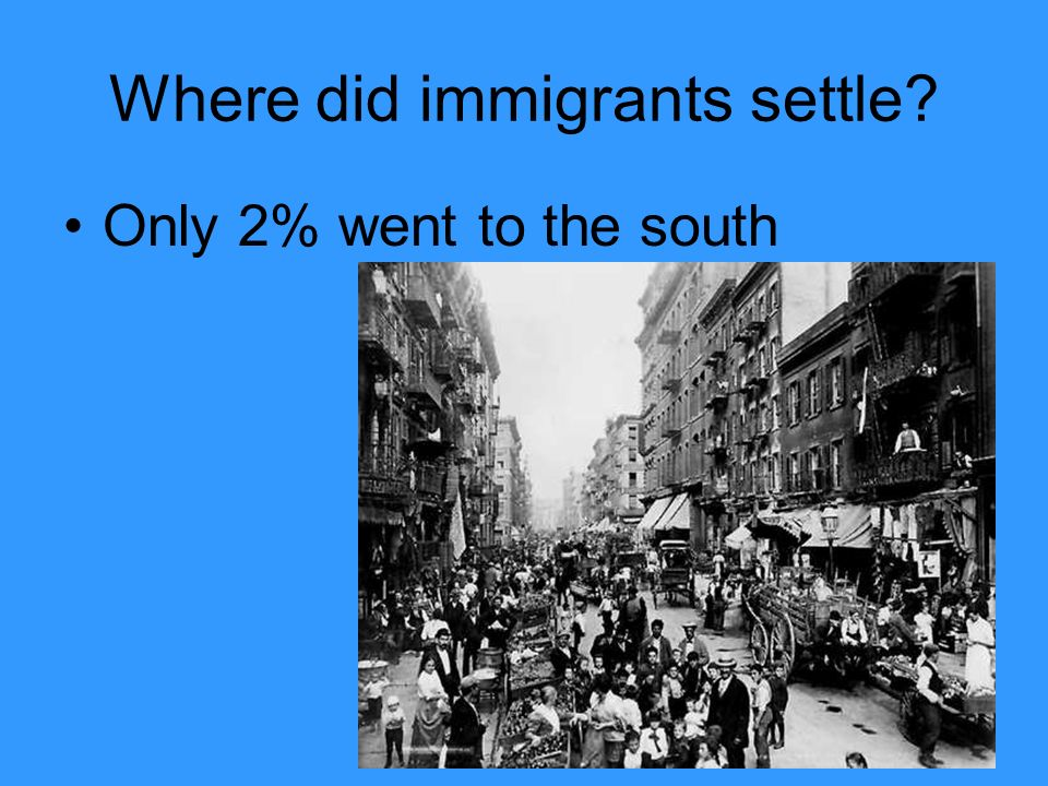 Where did immigrants settle