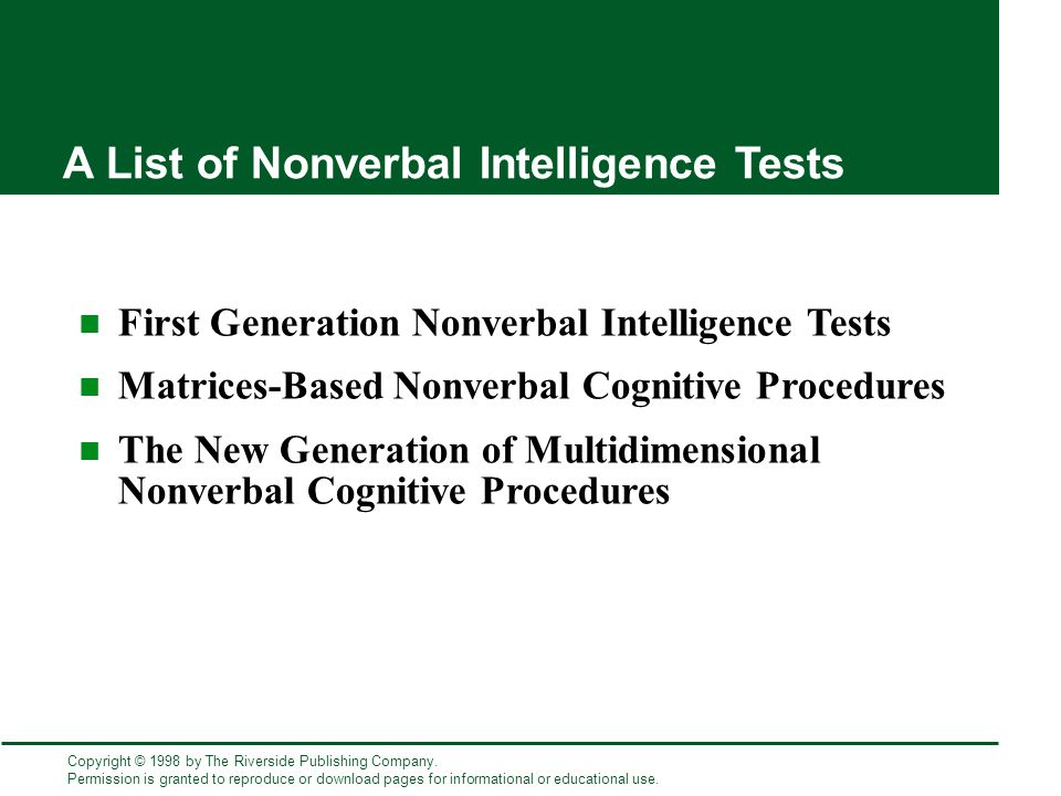 list of intelligence tests