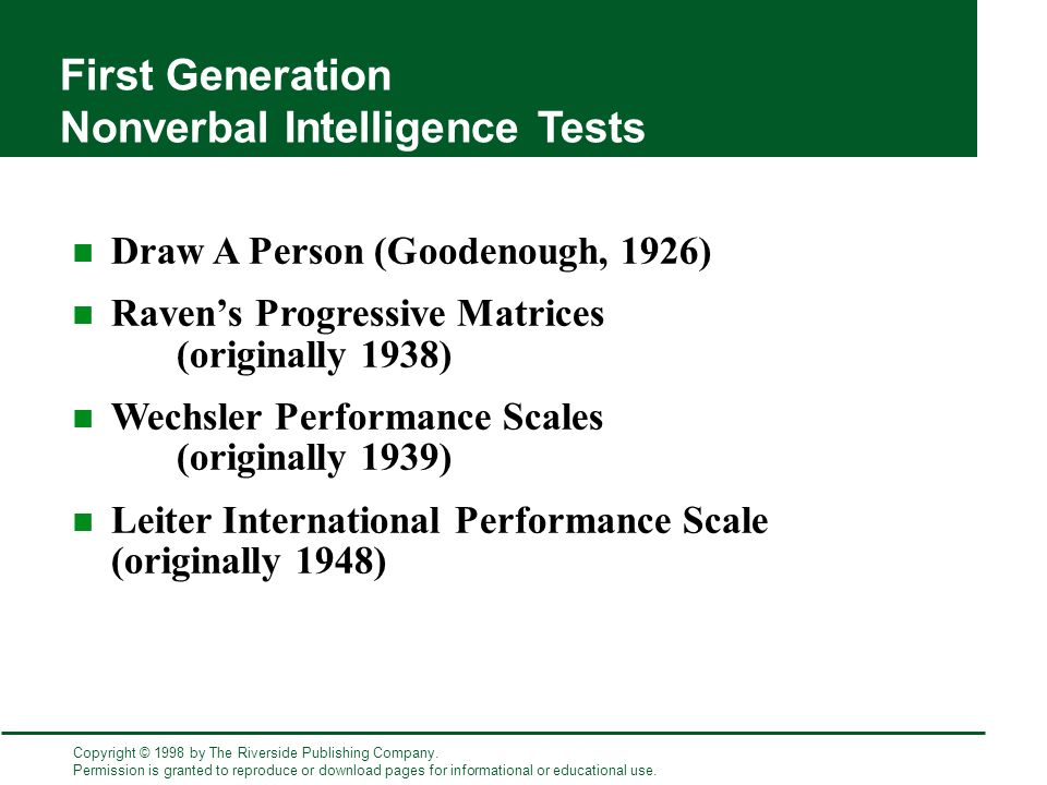 Nonverbal Assessment of Intelligence: - ppt download