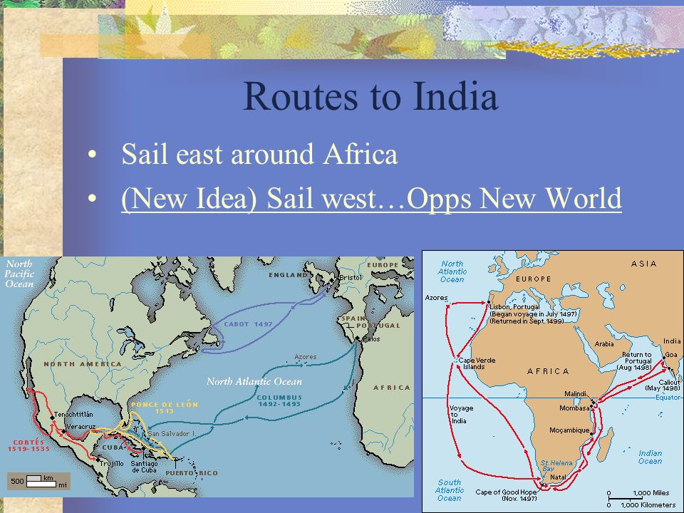 Routes to India Sail east around Africa