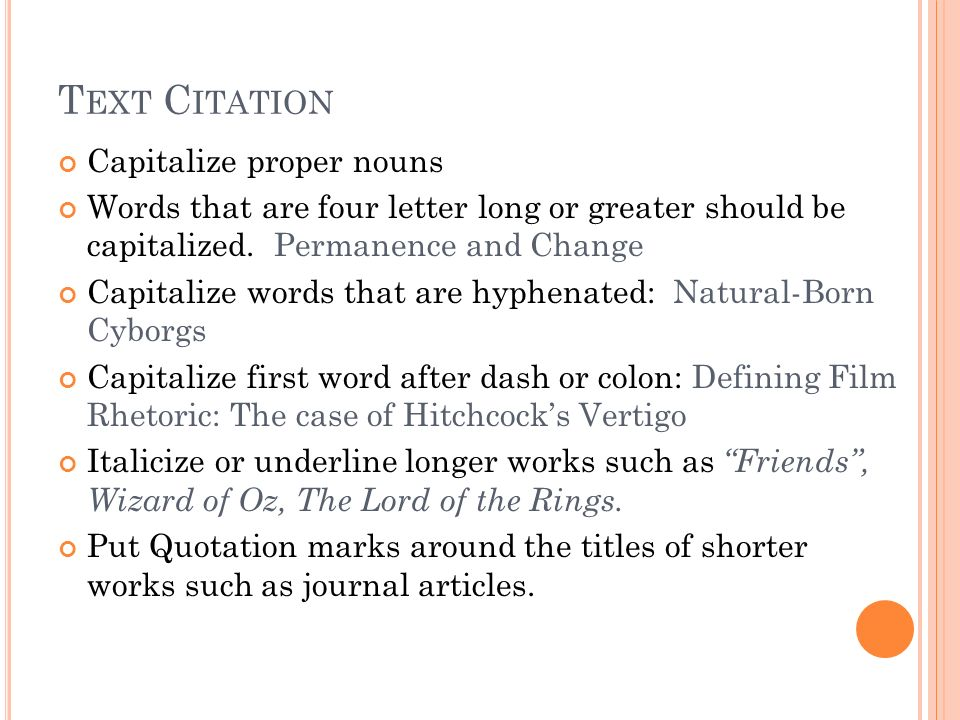 Text Citation Capitalize proper nouns