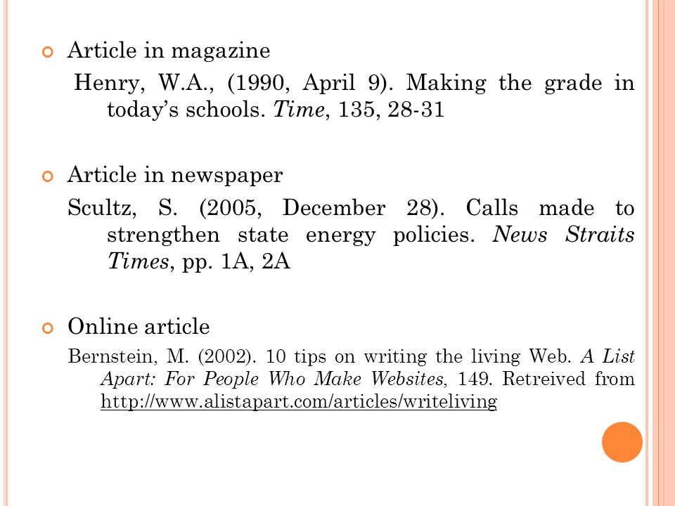 Article in magazine Henry, W.A., (1990, April 9). Making the grade in today's schools. Time, 135,