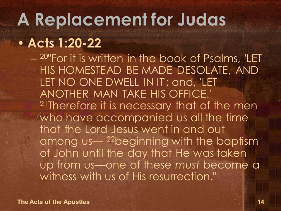 Image result for Acts 1:20
