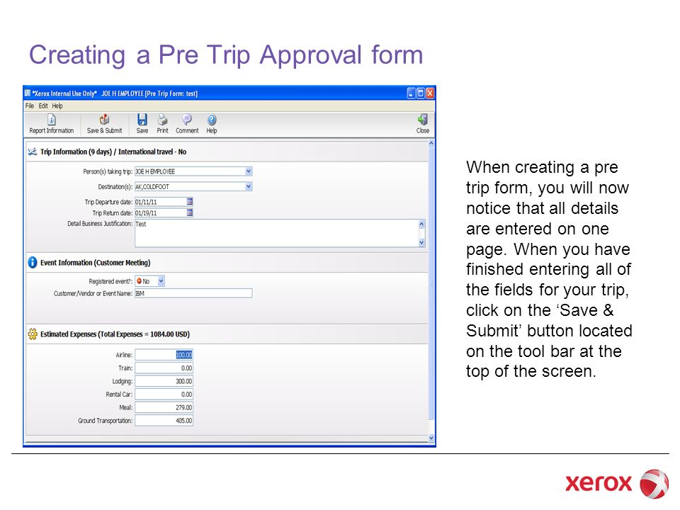 Creating a Pre Trip Approval form