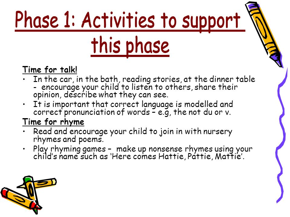 Phase 1: Activities to support