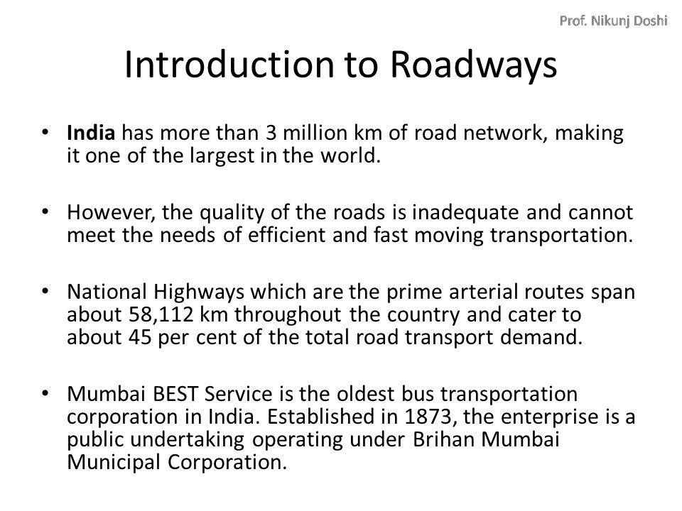 Chapter 6 Transport Marketing Roadways - BEST Railways Airlines