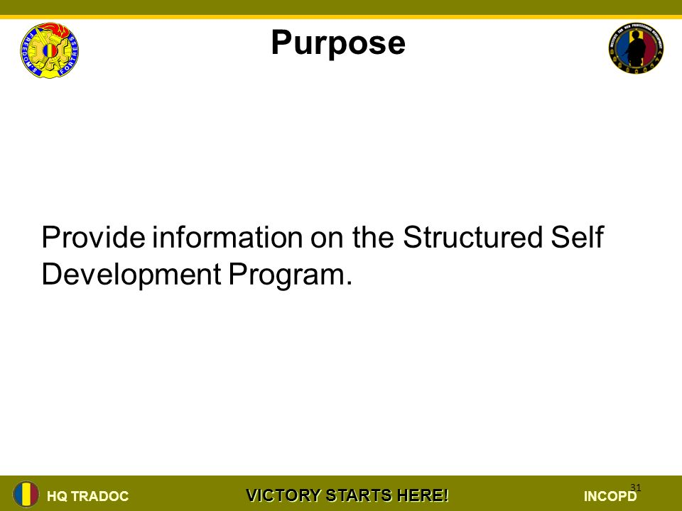 institute for noncommissioned officer ppt video online download rh slideplayer com Structured Self-Development Tracker Army Structured Self-Development Certificate