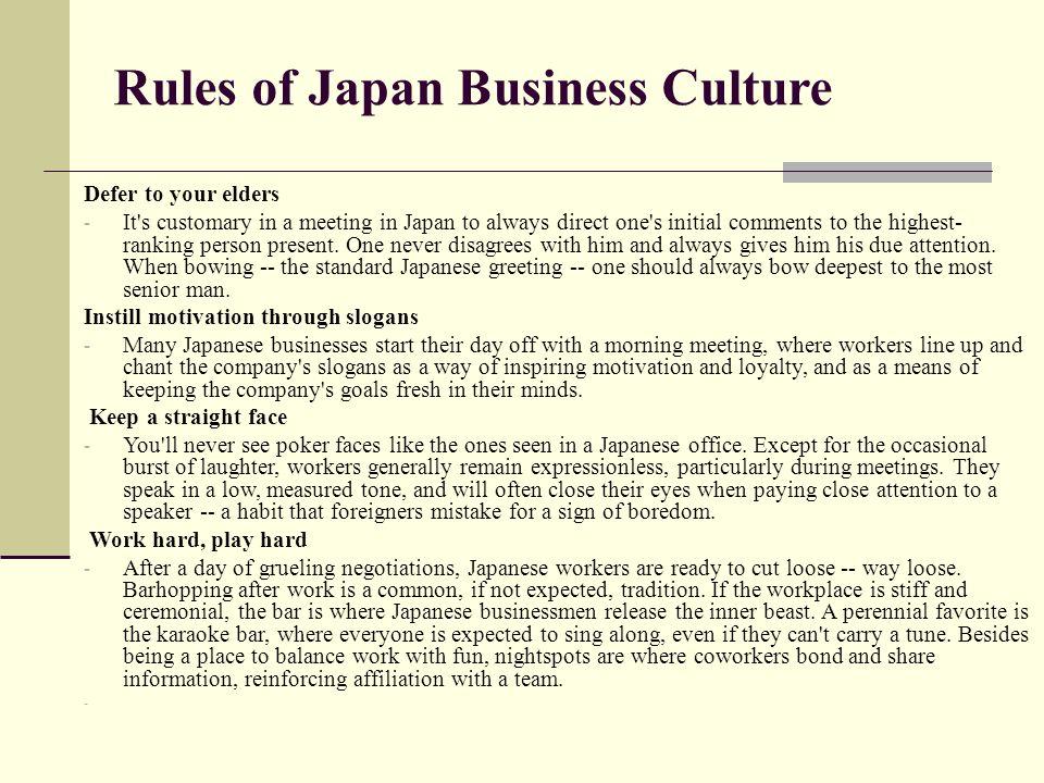 Japan ppt video online download rules of japan business culture m4hsunfo