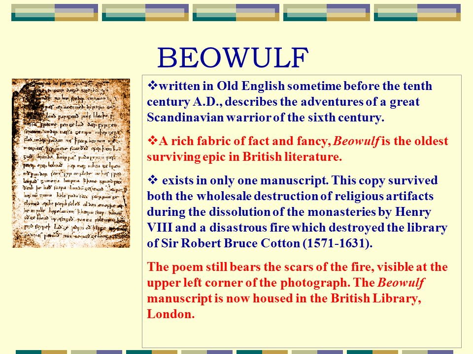descriptive essay on beowulf This was a compromise between beowulf's solid heart and his people, saying that because beowulf himself accepted his own death, his people should accept it, too, and show their acceptance by building a memorial of beowulf.
