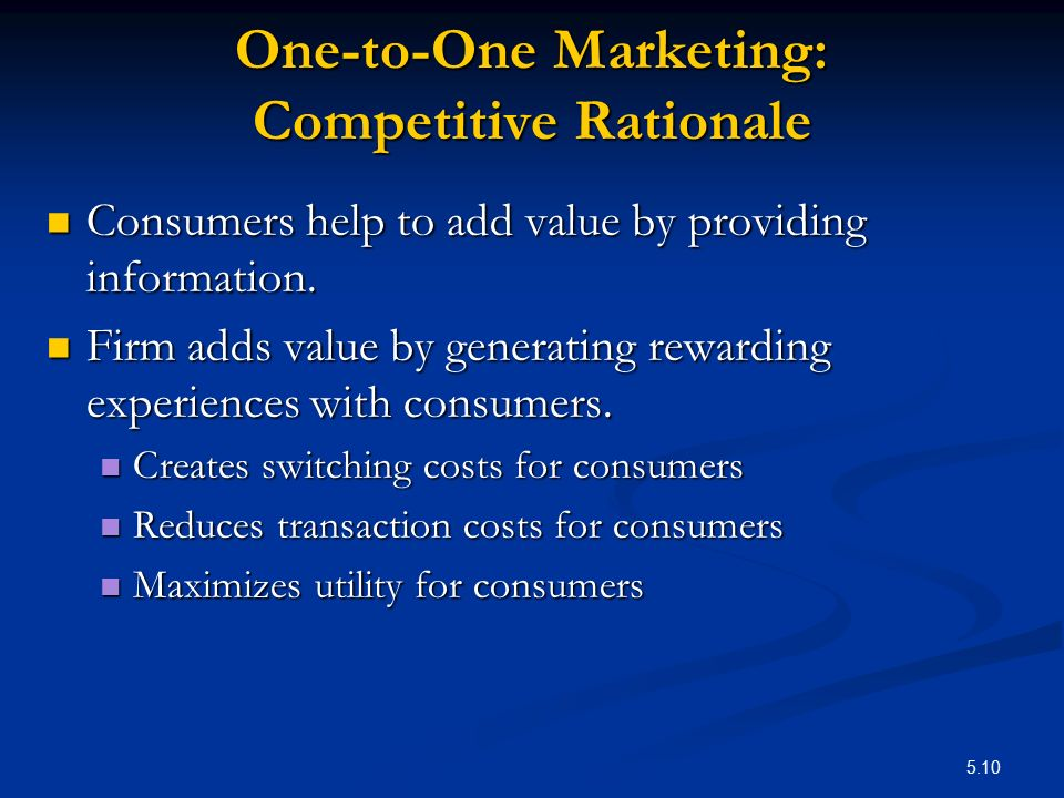 One-to-One Marketing: Competitive Rationale