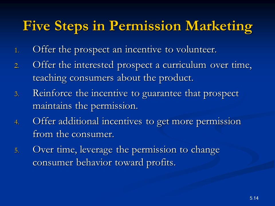 Five Steps in Permission Marketing