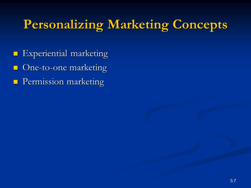 Personalizing Marketing Concepts