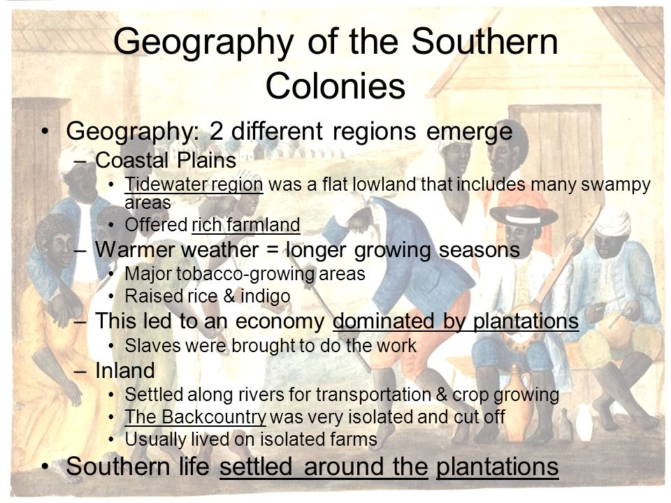 Geography of the Southern Colonies