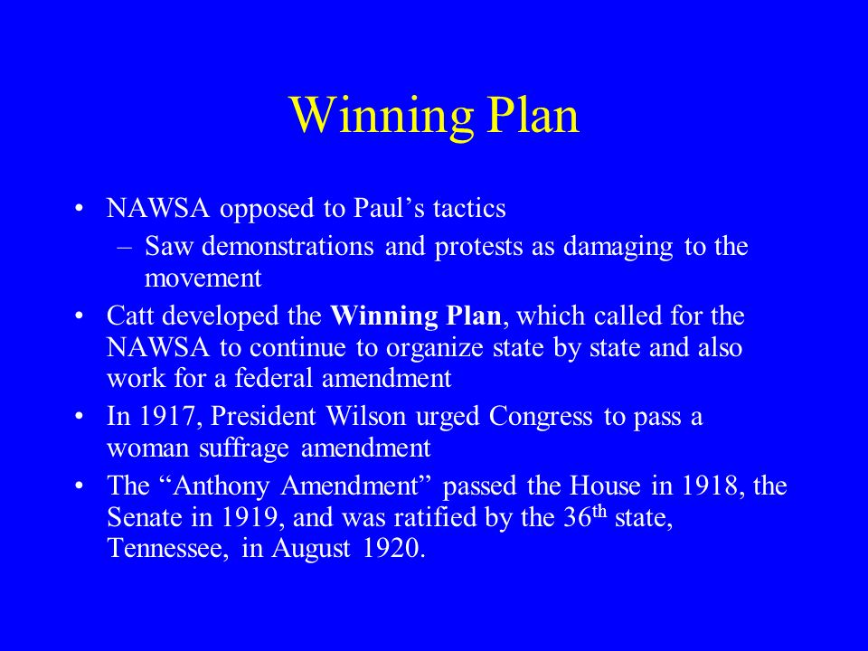 Winning Plan NAWSA opposed to Paul's tactics