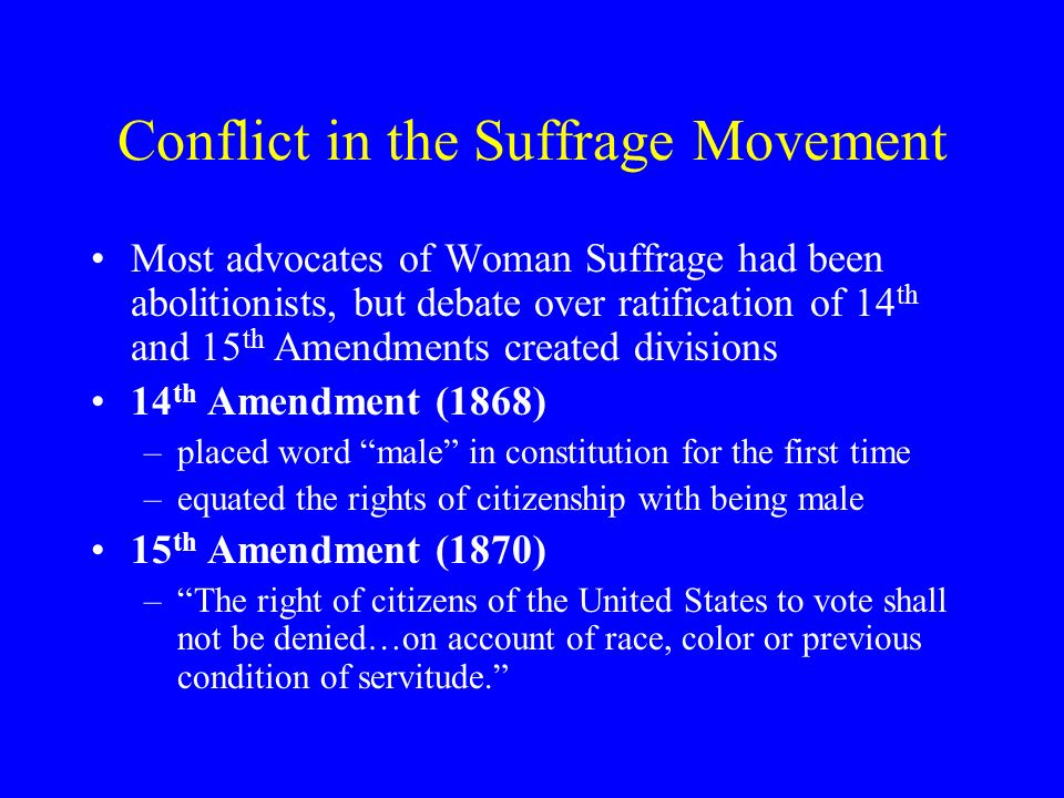 Conflict in the Suffrage Movement