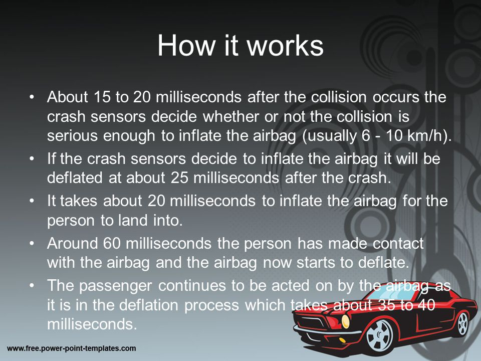 the physics behind car safety features The physics behind car safety features essay cars contain several different types of safety features these numerous safety features all have their own significance to the driver, as.