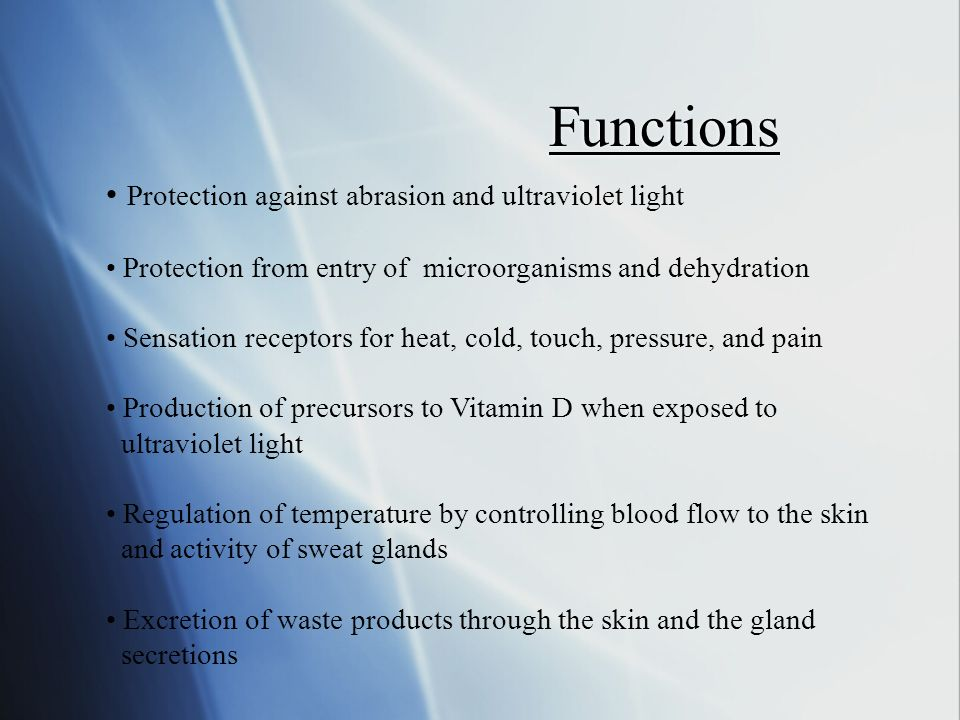 Functions Protection against abrasion and ultraviolet light