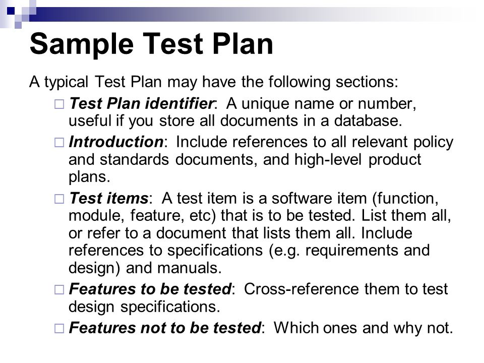 High Level Test Plan Sample
