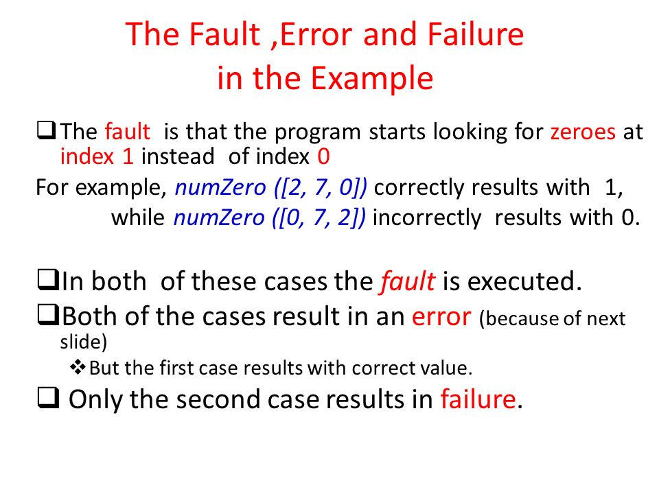 The Fault ,Error and Failure in the Example